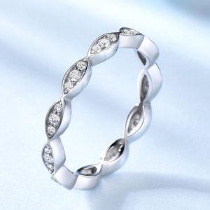 Art Deco Wedding Band CZ Silver Full Eternity
